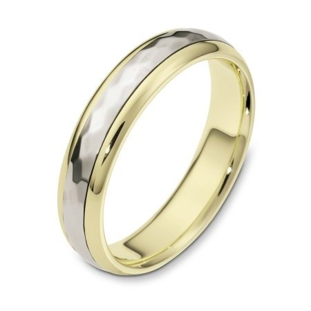 Item # 112601E - 18 kt Gold Two-Tone 5.0 mm Wide Comfort Center Rotating Hand Made Spinning Wedding Band. The center of the ring has a hammered pattern all around the band and spins. The whole ring is polished. Different finishes may be selected or specified.