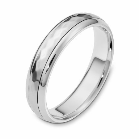Item # 112601WE - 18 kt white gold, 5.0 mm Wide Comfort Center Rotating Hand Made Spinning Wedding Band. The center of the ring has a hammered pattern all around the band and spins. The whole ring is polished. Different finishes may be selected or specified.