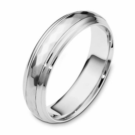 Item # 112611WE - 18 kt white gold, 6.0 mm Wide Comfort Center Rotating Hand Made Spinning Wedding Band. The center of the ring has a hammered pattern all around the band and spins. The whole ring is polished. Different finishes may be selected or specified.