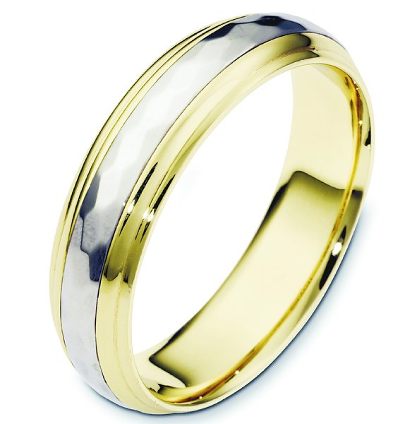 Item # 112617E - 18K two-tone gold, 7.0 mm wide, comfort fit, center rotating hand made spinning wedding band. The center of the ring has a hammered pattern all around the band and spins. The whole ring is polished. Different finishes may be selected or specified.