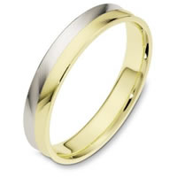 18K Two-Tone Carved, Comfort Fit Wedding Ring