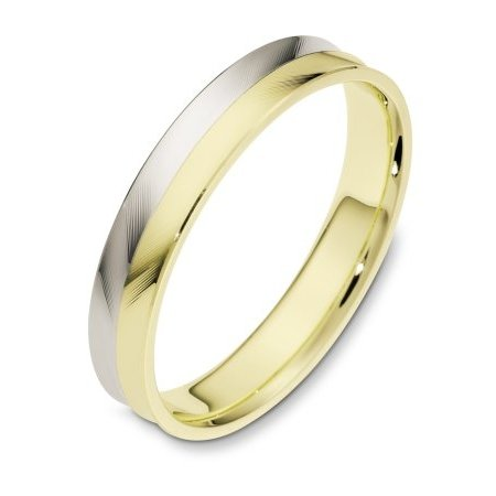 Item # 112661E - 18 kt Gold two tone, 4.0 mm wide, carved, comfort fit, wedding band. The ring has a herringbone carved pattern on the band. The whole ring is polished. Different finishes may be selected.