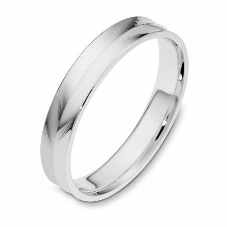 Item # 112661WE - 18 kt white gold, 4.0 mm wide, carved, comfort fit, wedding band. The ring has a herringbone carved pattern on the band. The whole ring is polished. Different finishes may be selected.