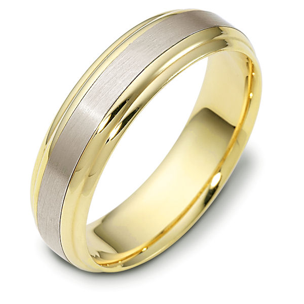 Item # 112721E - 18 kt Gold Two-Tone 6.0 mm Wide Comfort Hand Made Wedding Band. The center of the ring is brushed and the rest is polished. Different finishes may be selected or specified.