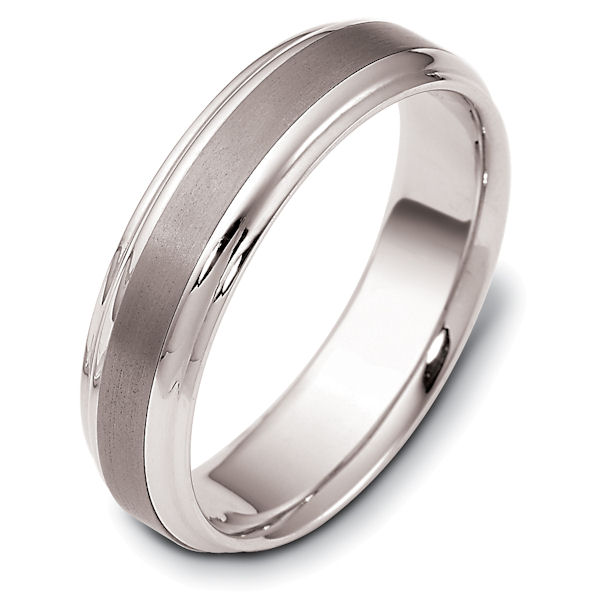 Item # 112721TG - 14 kt white gold d and titanium , comfort fit, 6.0 mm wide wedding band. The center of the ring is brushed and the rest is polished. Different finishes may be selected or specified.