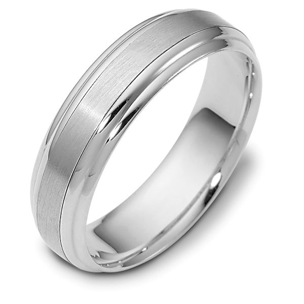 Item # 112721WE - 18 kt white gold, 6.0 mm Wide Comfort Hand Made Wedding Band. The center of the ring is brushed and the rest is polished. Different finishes may be selected or specified.