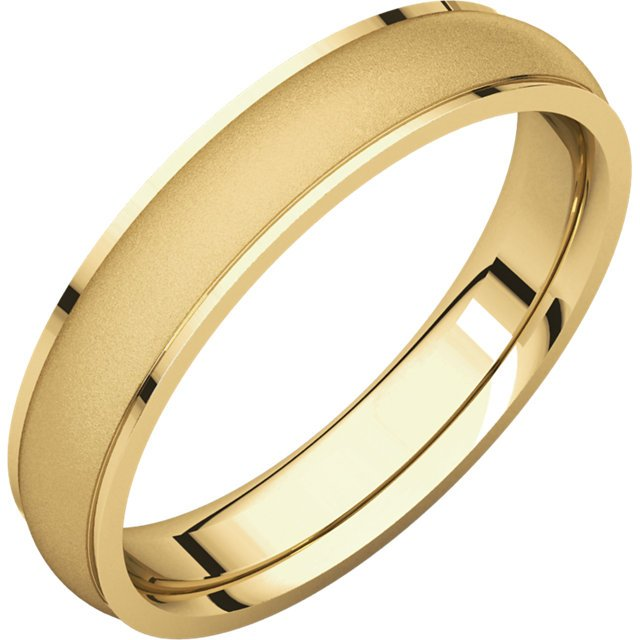 Item # 112771E - 18K yellow gold, center part brushed, 4.0 mm wide plain wedding band. The center of the ring is a satin brush finish and the edges are polished. Different finishes may be selected or specified.