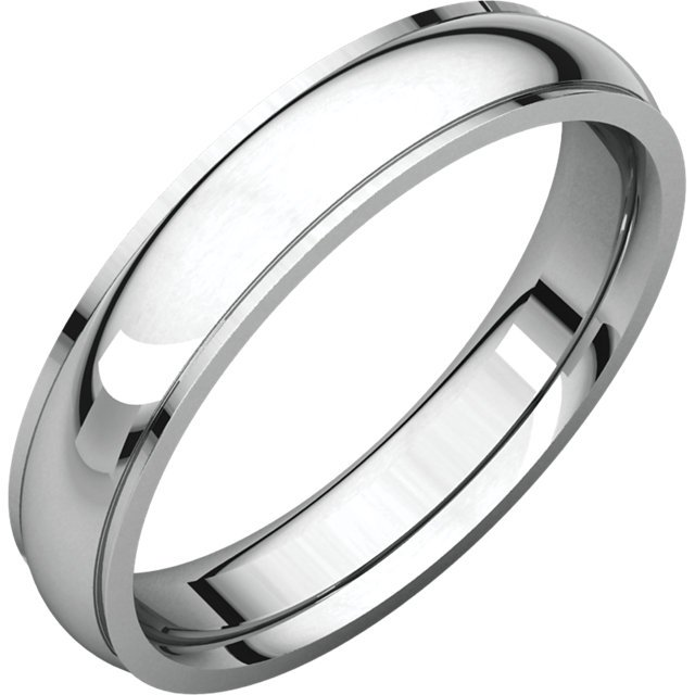 Item # 112771WE - 18K White gold center part brushed, 4.0 mm wide plain wedding band. The center of the ring is a satin brush finish and the edges are polished. Different finishes may be selected or specified.