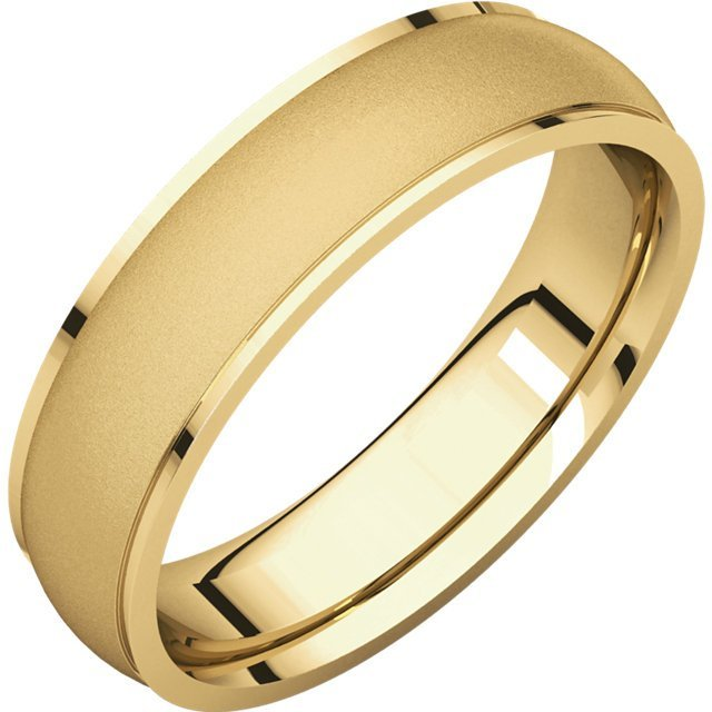 Item # 112781 - 14K yellow gold, 5.0 mm wide, center brush-finish, plain wedding band. The center of the ring is a satin brush finish and the edges are polished. Different finishes may be selected or specified.