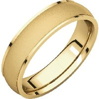 18K Yellow Gold Wedding Band 5mm  Brushed Center