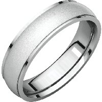 14K White Gold Wedding Band 5mm Brushed Center