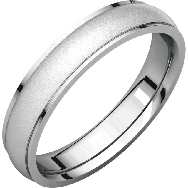 Item # 112781WE - 18K white gold, center satin-finish, 5.0 mm wide plain wedding band. The center of the ring is a satin brush finish and the edges are polished. Different finishes may be selected or specified.