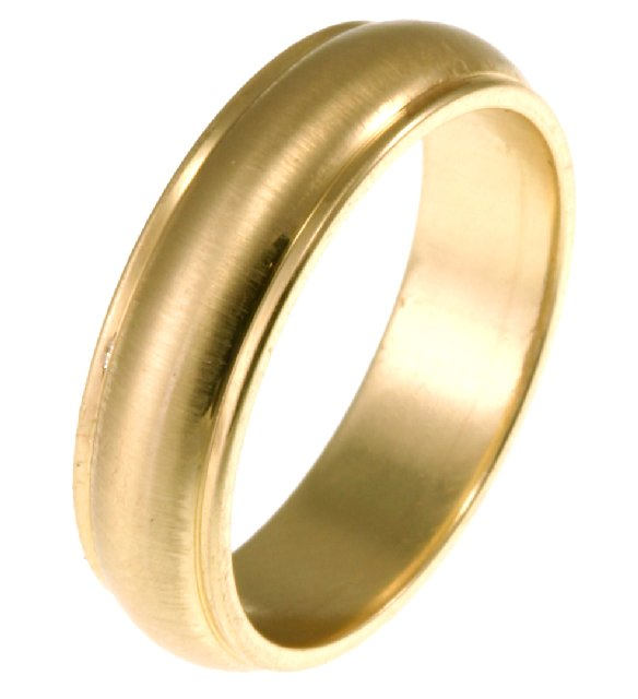 Item # 112786E - 18K  6mm Comfort Fit Wedding Band Center Brushed. View-1