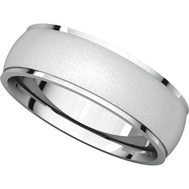 Item # 112791W - White Gold Comfort Fit Wedding Band Satin Finish View-5