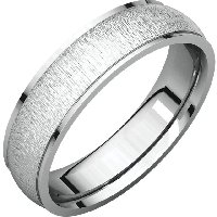 White Gold  Wide Comfort Fit Wedding Band Satin Finish