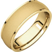 14K Gold 6mm Comfort Fit Men's Wedding Band Brushed Center.