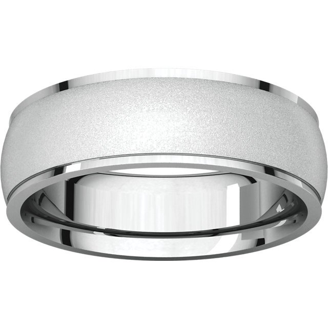 Item # 112791W View 3 - White Gold Comfort Fit Wedding Band Satin Finish