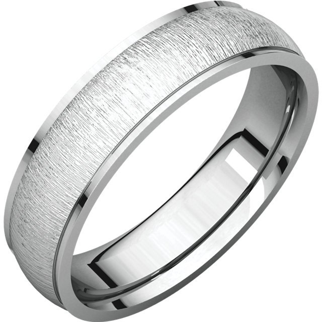 Item # 112791W - 14K white gold band, 6.0 mm wide , center brushed. The center of the ring is a satin brush finish and the edges are polished. Different finishes may be selected or specified.