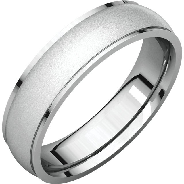 Item # 112791WE - 18K White gold band, 6.0 mm wide , center brushed. The center of the ring is a satin brush finish and the edges are polished. Different finishes may be selected or specified.