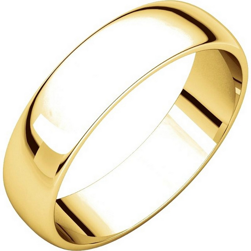 Item # 112941 - 14 kt Gold Plain 5.0 mm Wide Half Round Wedding Band. This is a plain wedding band and is polished. Different finishes may be selected or specified.