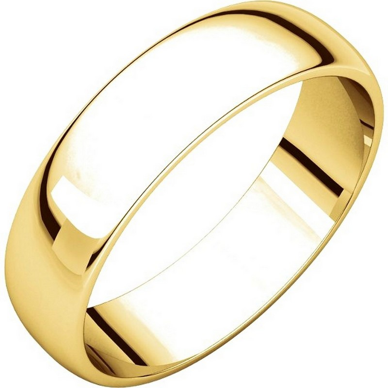 Item # 112941E - 18 kt Gold Plain 5.0 mm Wide Half Round Wedding Band. This is a plain wedding band and is polished. Different finishes may be selected or specified.