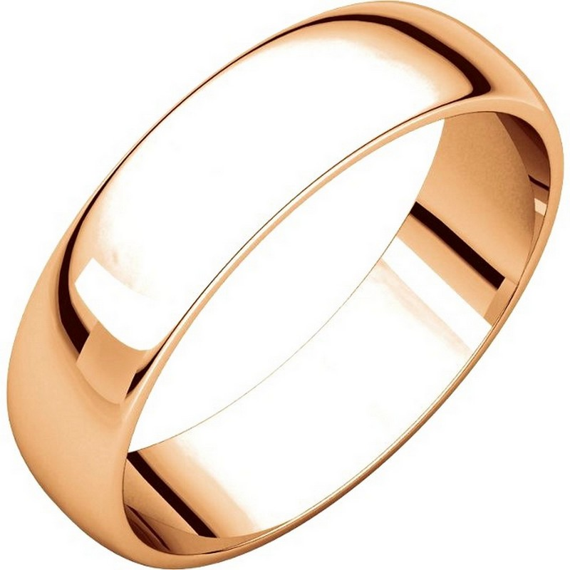 Item # 112941RE - 18 kt Rose Gold Plain 5.0 mm Wide Half Round Wedding Band. This is a plain wedding band and is polished. Different finishes may be selected or specified.