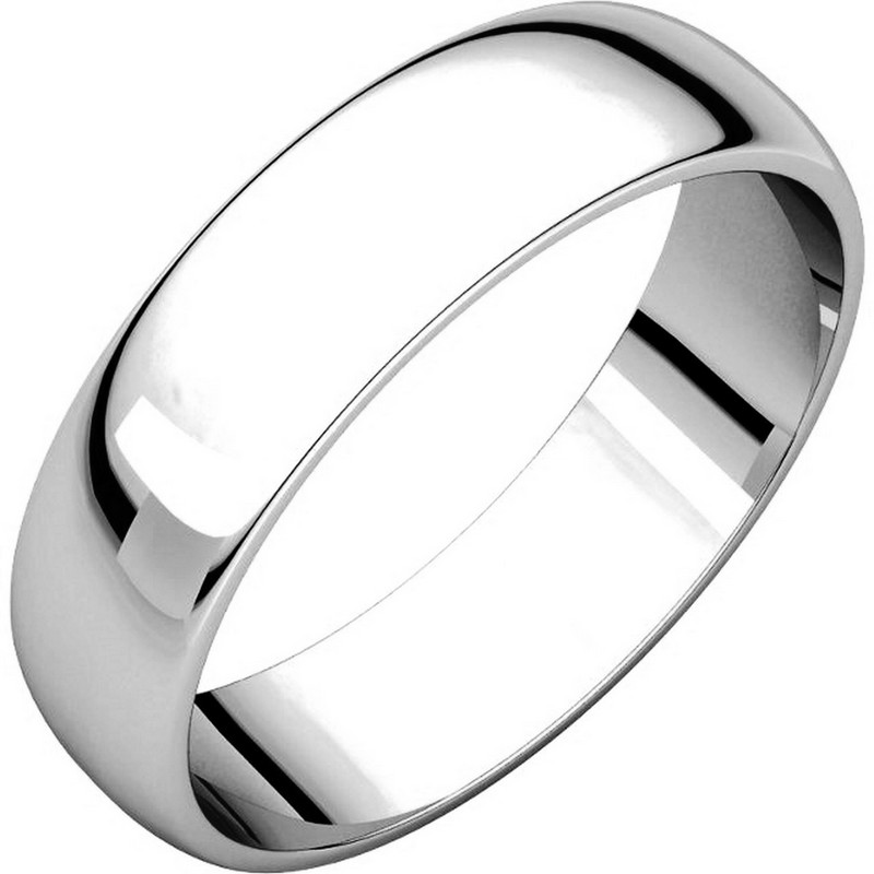 Item # 112941W - 14 kt White Gold Plain 5.0 mm Wide Half Round Wedding Band. This is a plain wedding band and is polished. Different finishes may be selected or specified.