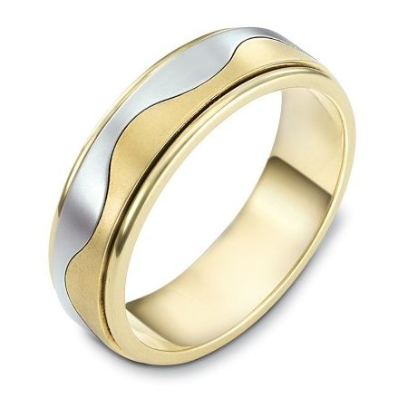 Item # 113011 - 14 kt two-tone hand made comfort fit Wedding Band 6.0 mm wide. The ring is flat and a curvy line is carved in the center. The center of the ring is matte and the edges are polished. Different finishes may be selected or specified.