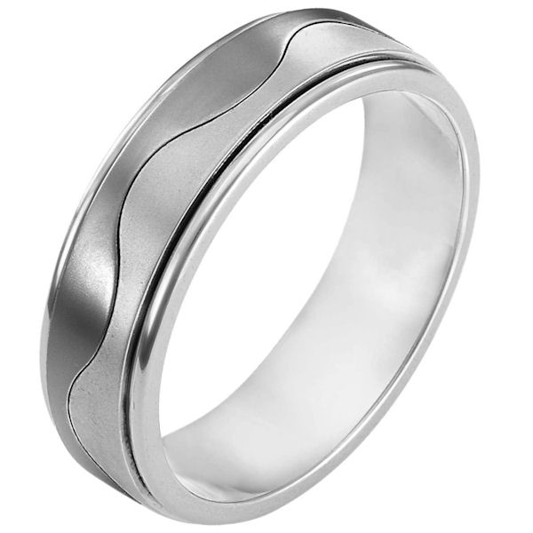 Item # 113011TG - 14K White gold and titanium, comfort fit, 6.0 mm wide ring. The ring is flat and a curvy line is carved in the center. The center of the ring is matte and the edges are polished. Different finishes may be selected or specified.