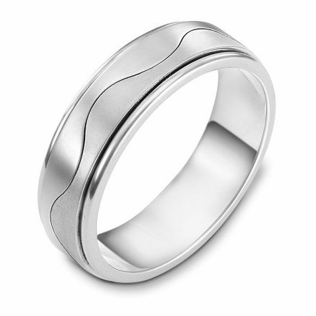 Item # 113011W - 14 kt white gold, hand made comfort fit Wedding Band 6.0 mm wide. The ring is flat and a curvy line is carved in the center. The center of the ring is matte and the edges are polished. Different finishes may be selected or specified.