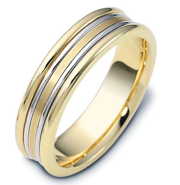 Item # 113021 - 14 kt two-tone hand made comfort fit Wedding Band 6.0 mm wide. The center of the ring is matte and the rest is polished. Different finishes may be selected or specified.