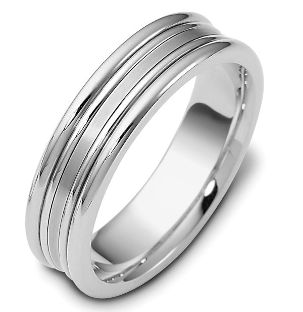 Item # 113021PP - Platinum hand made comfort fit Wedding Band 6.0 mm wide. The center of the ring is matte and the rest is polished. Different finishes may be selected or specified.