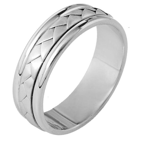 Item # 113111W - 14 kt hand made, comfort fit, Wedding Band 6.5 mm wide. The center of the ring has a hand made braid which has a brushed finish. The outer edges are polished. Different finishes may be selected or specified.