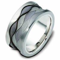 14K White Gold & Titanium Band.