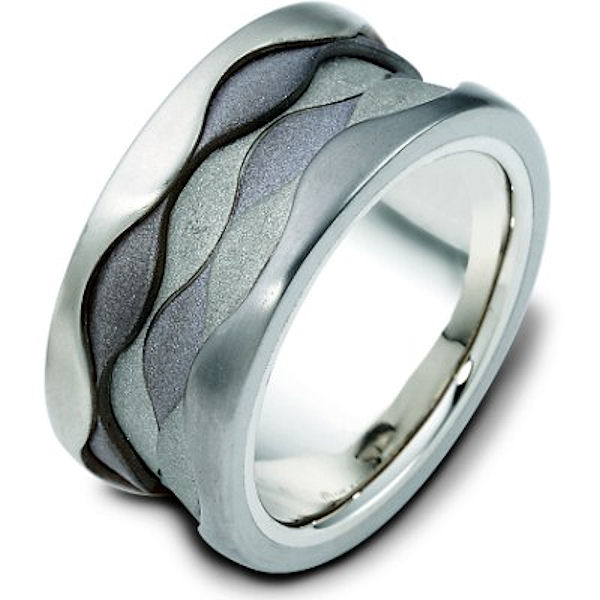 Item # 113281NTG - 14K White gold and titanium, comfort fit, 11.5 mm wide ring. The center portion of the ring has a mixture of coarse and heavy sandblast matte finishes. Different finishes may be selected or specified.