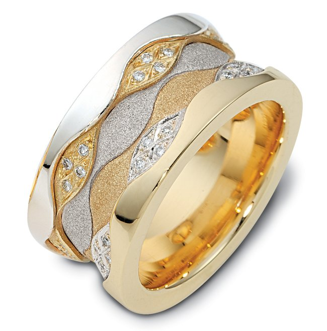 Item # 113291 - 11.5 mm wide 14K two tone comfort fit, 3 mm thick, diamond band, 0.50 ct tw. in size 6.0. The diamonds are VS1-2 in clarity and G-H in color. The center portion of the ring has a mixture of coarse and heavy sandblast finishes. The edges are polished. Different finishes may be selected or specified.