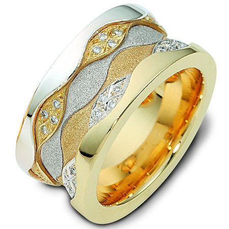 Item # 113291A - 11.5 mm wide 14K two tone comfort fit, 3 mm thick, diamond band, 0.50 ct tw. in size 6.0. The diamonds are VS1-2 in clarity and G-H in color. The center portion of the ring has a mixture of coarse and heavy sandblast finishes. The edges are polished. Different finishes may be selected or specified.