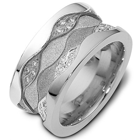 Item # 113291AWE - 11.5 mm wide 18K white gold, comfort fit, 3 mm thick, diamond band, 0.50 ct tw. in size 6.0. The diamonds are VS1-2 in clarity and G-H in color. The center portion of the ring has a mixture of coarse and heavy sandblast finishes. The edges are polished. Different finishes may be selected or specified.