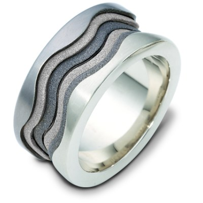Item # 113301TG - 14K white gold and titanium, comfort fit, 11.5 mm wide wedding band. The center portion of the ring has a mixture of coarse and heavy sandblast matte finishes. The edges are polished. Different finishes may be selected or specified.