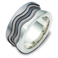 Item # 113301TG - 14K White Gold & Titanium Wedding Band.