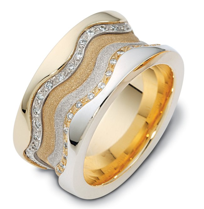 Item # 113311 - 14K two tone 11.5 mm wide, 3 mm thick comfort fit, diamond band, 0.50 ct tw. The diamonds are VS1-2 in clarity and G-H in color. The center portion of the ring has a mixture of coarse and heavy sandblast finishes. The edges are polished. Different finishes may be selected or specified.