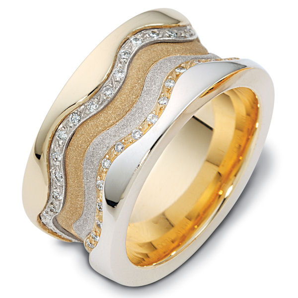 Item # 113311A - 14K white and yellow gold 11.5 mm wide, 3 mm thick comfort fit, two tone diamond band, 0.50 ct tw. The diamonds are VS1-2 in clarity and G-H in color. The center portion of the ring has a mixture of coarse and heavy sandblast finishes. The edges are polished. Different finishes may be selected or specified.