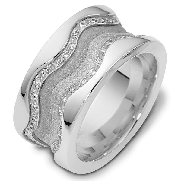 Item # 113311AWE - 18K white gold, 11.5 mm wide, 3 mm thick comfort fit, diamond band, 0.50 ct tw. The diamonds are VS1-2 in clarity and G-H in color. The center portion of the ring has a mixture of coarse and heavy sandblast finishes. The edges are polished. Different finishes may be selected or specified.