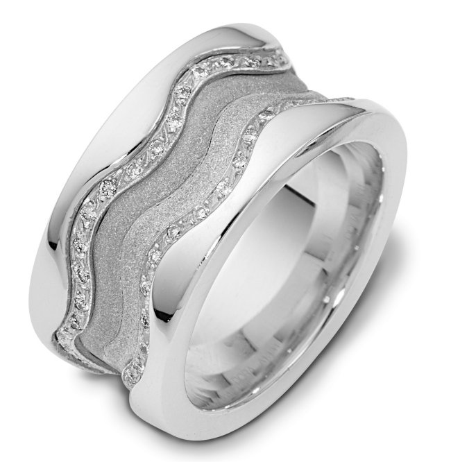 Item # 113311WE - 18K white gold, 11.5 mm wide, 3 mm thick comfort fit, diamond band, 0.50 ct tw. The diamonds are VS1-2 in clarity and G-H in color. The center portion of the ring has a mixture of coarse and heavy sandblast finishes. The edges are polished. Different finishes may be selected or specified.