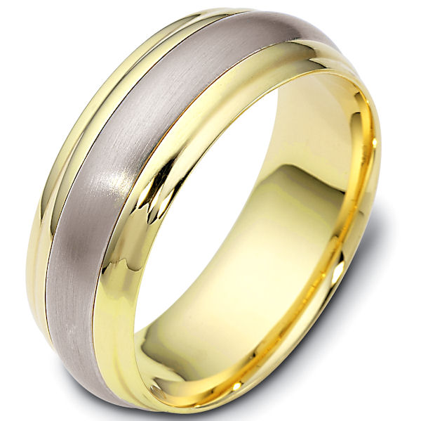 Item # 113801E - 18kt Two-tone gold classic, comfort fit, 7.5mm wide wedding band. The center portion of the ring has a matte finish and the rest of the band is polished. Different finishes may be selected or specified.
