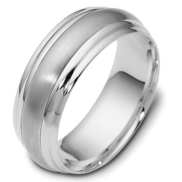 Item # 113801WE - 18kt White gold classic, comfort fit, 7.5mm wide wedding band. The center portion of the ring has a matte finish and the rest of the band is polished. Different finishes may be selected or specified.