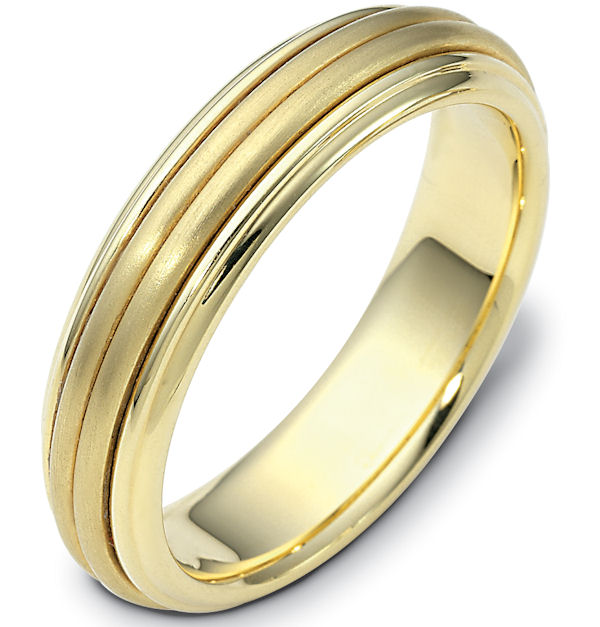 Item # 114061E - 18 kt Gold Center Rotating Hand Made 5.0 mm Wide Comfort Fit Spinning Wedding Band. The center rotating portion has a matte finish and the edges are polished. Different finishes may be selected or specified.