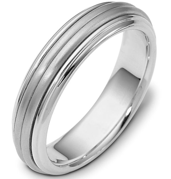 Item # 114061WE - 18 kt White Gold Center Rotating Hand Made 5.0 mm Wide Comfort Fit Spinning Wedding Band. The center rotating portion has a matte finish and the edges are polished. Different finishes may be selected or specified.