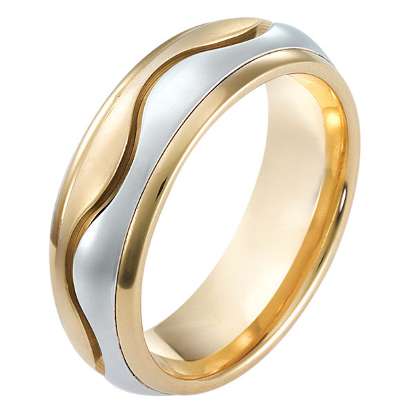 Item # 114081E - 18 kt two-tone hand made comfort fit Wedding Band 7.0 mm wide. The center of the band is matte and the outer edges are polished. Different finishes may be selected or specified.