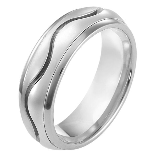 Item # 114081WE - 18 kt white gold, hand made comfort fit Wedding Band 7.0 mm wide. The center of the band is matte and the outer edges are polished. Different finishes may be selected or specified.